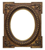 Wooden photo frame golden (isolated with clipping path) — Stock Photo