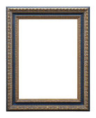 Wooden photo frame golden and blue (isolated with clipping path) — Stockfoto