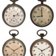 Set of four old pocket watches, isolated with clipping path - Stock fotografie