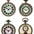 Set of four old pocket watches, isolated with clipping path - Foto de Stock