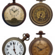 Set of four old pocket watches, isolated with clipping path — Stock Photo #4895495