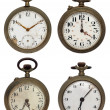 Set of four old pocket watches, isolated with clipping path — Stock Photo #4895512