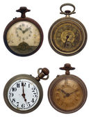 Set of four old pocket watches, isolated with clipping path — Stock Photo
