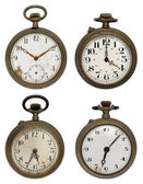 Set of four old pocket watches, isolated with clipping path — Foto Stock