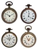 Zestaw czterech stare zegarki kieszonkowe, na białym tle ze ścieżką przycinającą — Zdjęcie stockowe