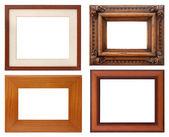 Set of wooden natural frame, isolated with clipping path — Stock Photo