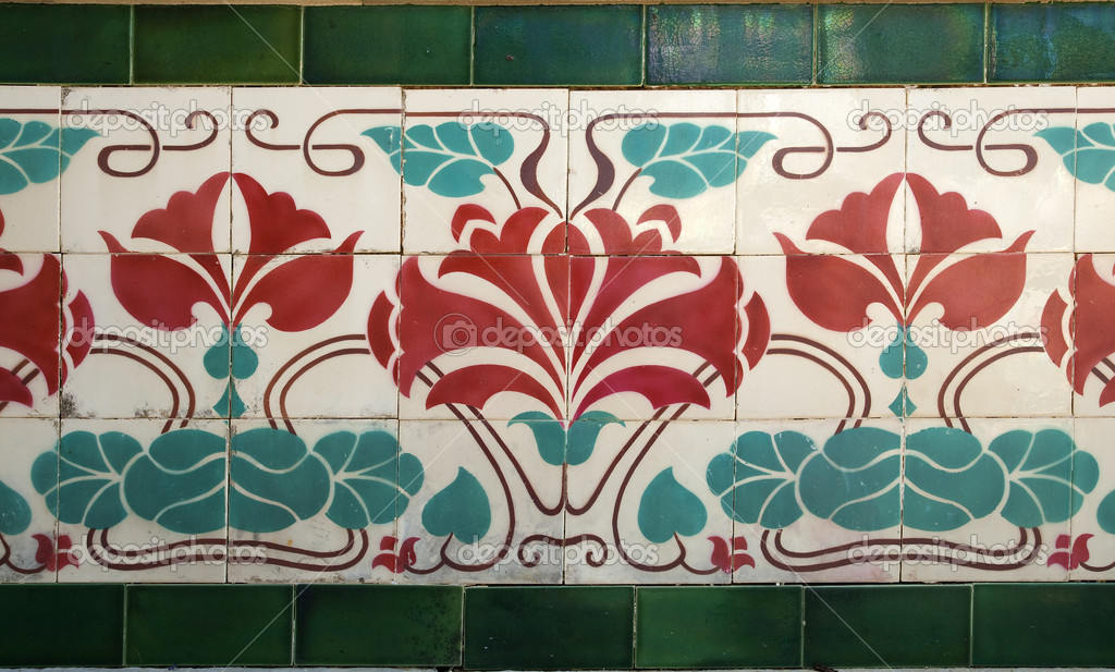 Old tile with floral decoration arrt nouveau style  Stock Photo #4894111