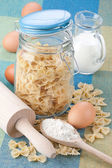 Glass jar with pasta — Stock Photo