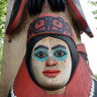 Stock Photo: Totem pole face in AlaskNative Heritage Center