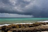 Tropical storm over Caribbean sea — Stock Photo