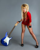 Blond with Electroguitar. Rock lady — Stock Photo