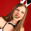 Playboy girl and Strawberry — Stock Photo #4879492