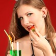 The beautiful girl and a strawberry — Stock Photo #4879631