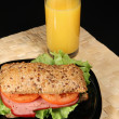 Stock Photo: Sandwich and orange juice