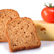 Bread cheese and a tomato — Stock Photo