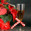 Red poinsettia and tea — Stock Photo