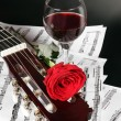 Notes, wine and rose — Stock Photo #4884733