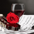 Notes, wine and rose — Stock Photo #4884745