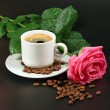 Stock Photo: Coffee and pink rose
