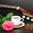 Stock Photo: Coffe, pink rose and guitar