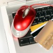 Stock Photo: Laptop and credit cards