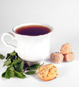 The glass of tea and biscuit — Stock Photo