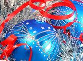 Голубые ёлочные шары — Stock Photo