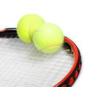 Tennis racket and balls — Stock Photo