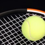 Tennis racket and ball on black — Stock Photo #4891928