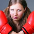 Women boxing punching red gloves — Stok fotoğraf