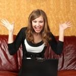 Девушка с ноутбуком — Stock Photo #4894428