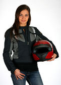 Beautiful biker — Stock Photo