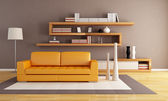 Orange and brown living room — Foto Stock