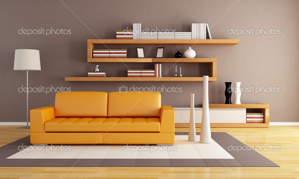 Orange and brown living room with modern wooden  bookshelf  Stock Photo #4858782