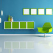 Green and blue contemporary living room — Stock Photo