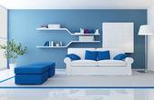 Modern blauw interieur — Stockfoto