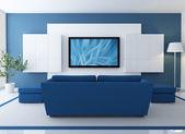 Blauwe lounge met lcd tv — Stockfoto