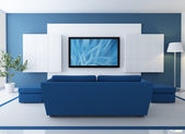Salone blu con lcd tv — Foto Stock