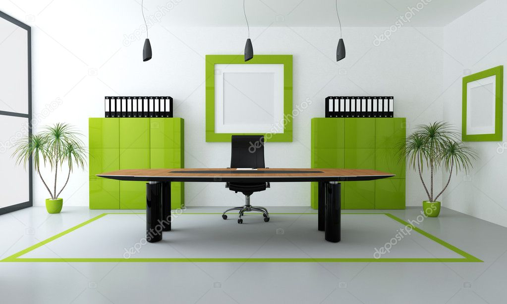 Minimalist green and black office space - rendering — Stock Photo #4880629