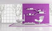 Purple nad white living room — Stock Photo