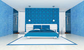 Contemporary blue bedroom — Stock Photo