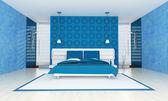Modernes schlafzimmer in blau — Stockfoto