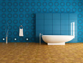 Contemporary blue bathroom — Stock Photo