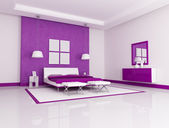 Purple bedroom — Stockfoto