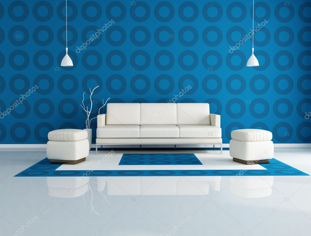 White couch and two pouf in front a geometrical wallpaper-rendering  Stock Photo #4893330