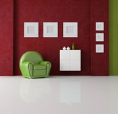 Green and red living room — Stock Photo