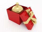 Hucha de regalo roja — Foto de Stock