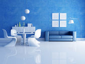 Blue and white dining room — Stock Photo