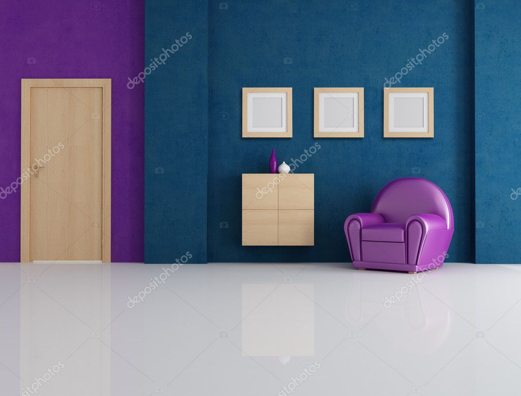 Blue And Purple Living Room Stock Photo Archideaphoto
