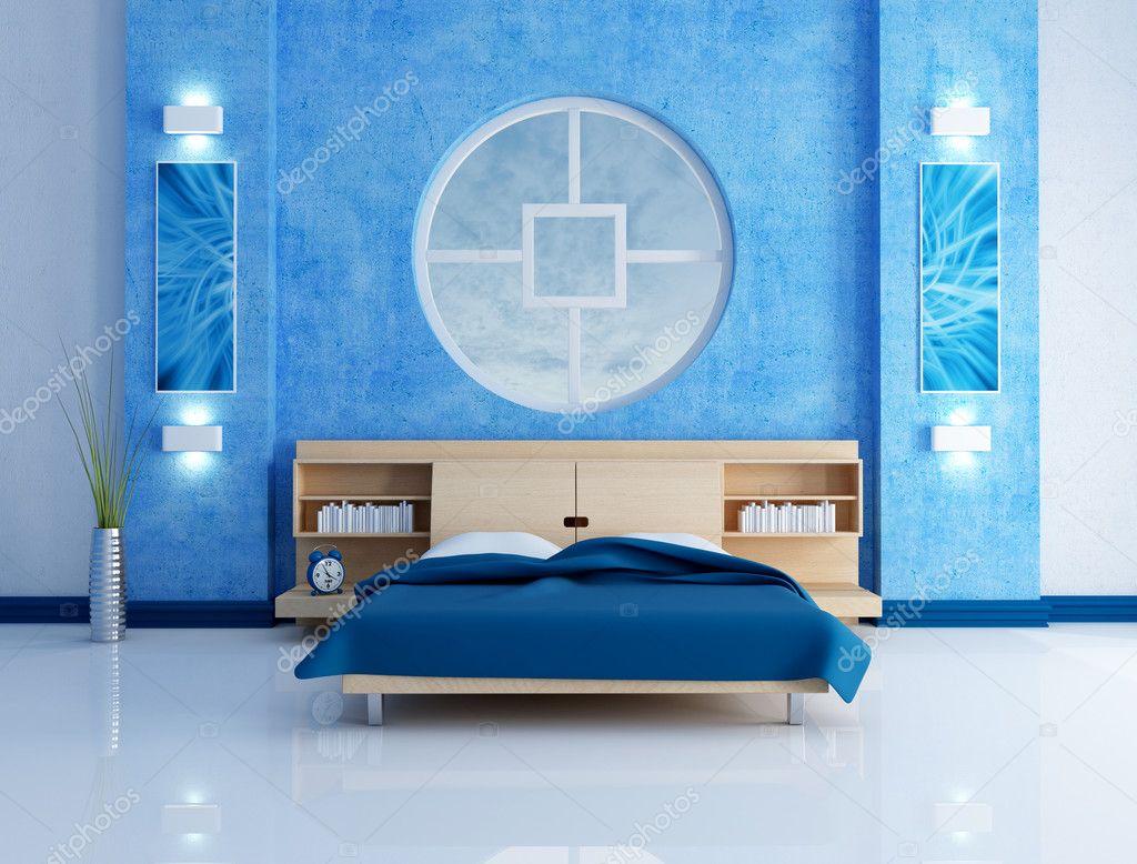 Blue Modern Bedroom Stock Photo Archideaphoto 4901471